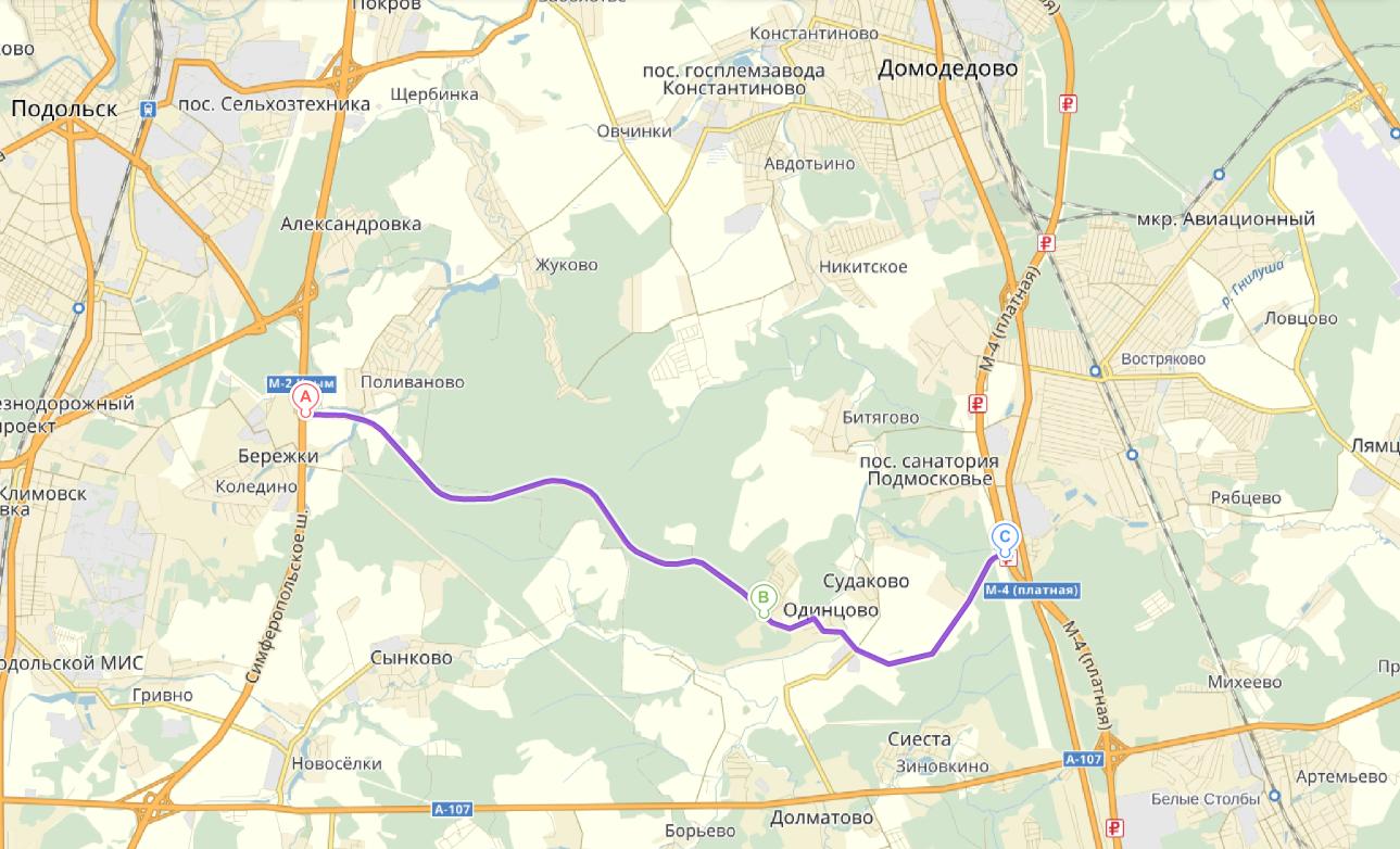 Схема проезда от Симферопольского и Каширского шоссе